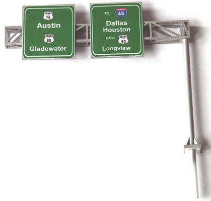 #HS-SK2 - Highway Cantilever Sign Kit, 2-Lanes - HO Scale