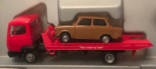Pro-141246 - Promotex MAN F90 Car Transport Truck/Trailer - with red Trabant