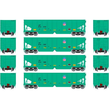 Ath-76423 - HO RTR  UP  40' Outside Braced Ballast Hopper - removable loads  (set of 4)