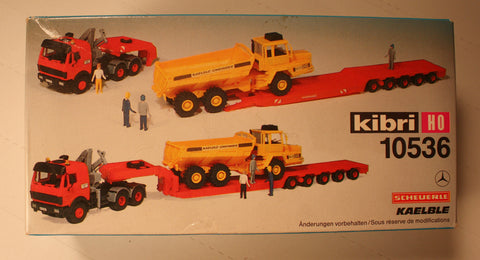 Kibri #10536  Tractor with lowboy trailer and articulated dump truck  (plastic kit)