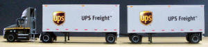 #T-SP-164  International Prostar day cab/28ft straight frame dble trlers-UPS