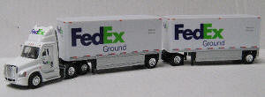 #T-SPT-3127   		Freightl Cascadia Day Cab w/2 28 ft Drop Deck Trlers-- FedEx
