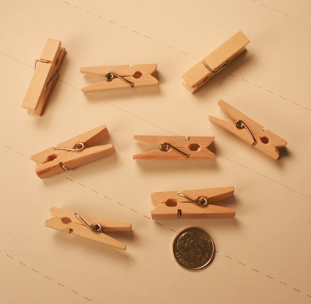 #HT-123    Mini Wood Clothespins (pkg - 20)