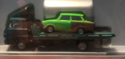 Pro-141239 - Promotex MAN F90 Car Transport Truck/Trailer - with green Trabant