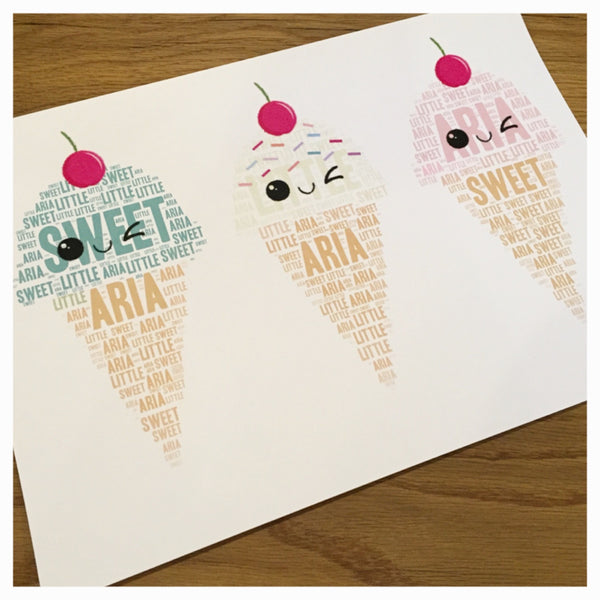 Icecream TRIO (with cherries) Name It Print