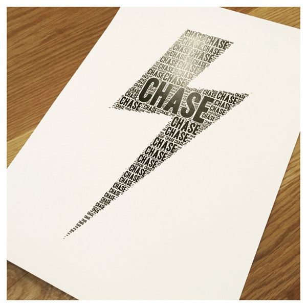 Lightening Bolt Name It Print
