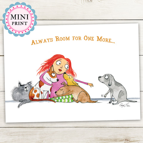 """Always Room For One More"" Mini Art Print - Red and Howling"