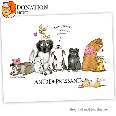 "DONATION Print: ""AntiDepressants"" NEW (Archival Giclée) - Red and Howling"
