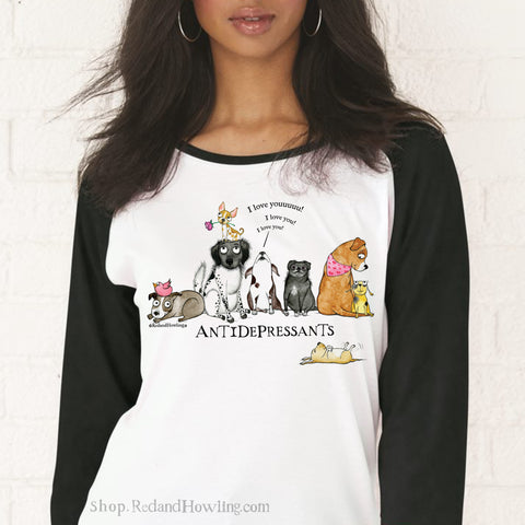 """Antidepressants 2""  Baseball T-Shirt"