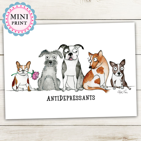 """Antidepressants"" Mini Art Print - Red and Howling"
