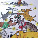 "NEW! ""Be Merry"" Christmas 4 Card Set - Red and Howling"