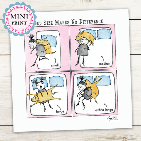 """Bed Size Makes No Difference"" Mini Art Print - Red and Howling"