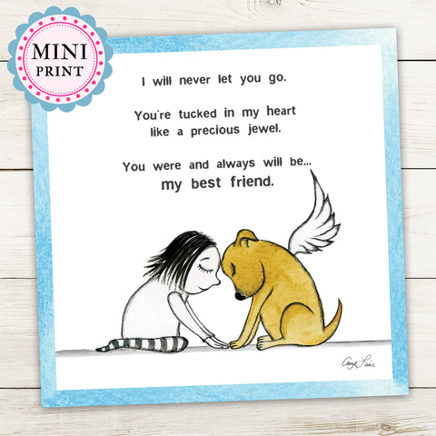 """My Best Friend"" Mini Art Print - Red and Howling"