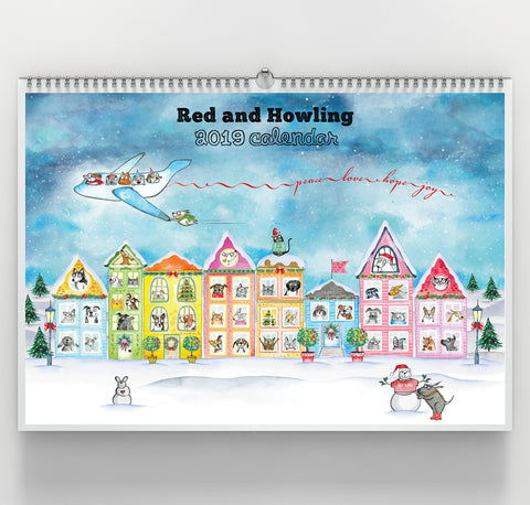 Premium Wall Calendar - 2019 Limited Edition - Red and Howling