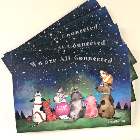 """We are All Connected"" Holiday 4 Card Set - Red and Howling"