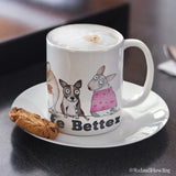 """Dogs Make Life Better"" Mug - Red and Howling"