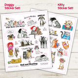 Super Kitty Cat Sticker Set! - Red and Howling