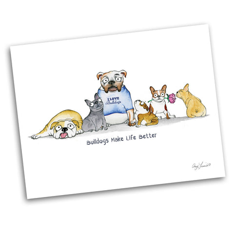 """Bulldogs Make Life Better"" Archival Giclée Print - Red and Howling"