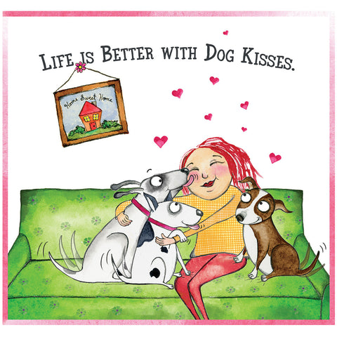 Donation Print: Life is Better with Dog Kisses - Red and Howling