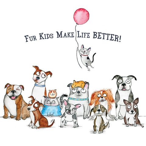 Donation Print: Fur Kids Make Life Better! - Red and Howling