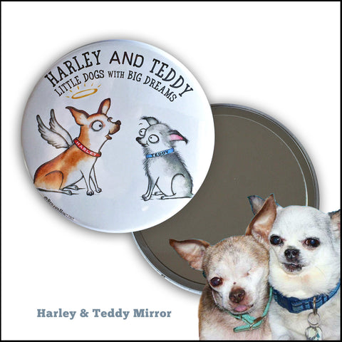 "DONATION Mirror & Pins: ""Harley & Teddy"" - Red and Howling"