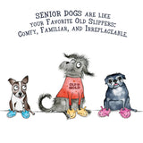 """Senior Dogs in Slippers"" Archival Giclée Print - Red and Howling"