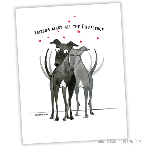 """Friends Make All the Difference"" Archival Giclée Print - Red and Howling"