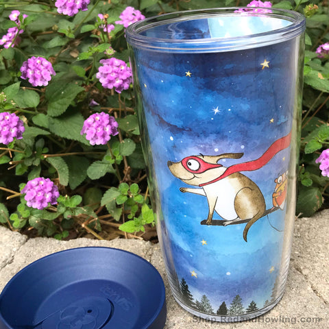 "SALE! Travel Mug -""Broom Ride with Friends"" - Red and Howling"