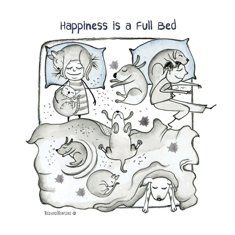 """Happiness is a Full Bed"" Archival Giclée Print"