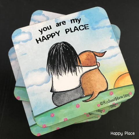 """Happy Place"" Coaster - Red and Howling"