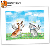 "DONATION Print: ""Harley & Teddy"" Archival Giclée Print - Red and Howling"
