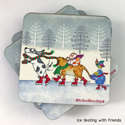 """Ice Skating"" Coaster - Red and Howling"