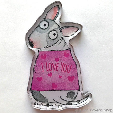 I Love You Dog Chunky Magnet - Red and Howling