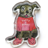 Puppy at Heart Chunky Magnet - Red and Howling