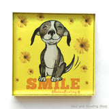Smile Dog Chunky Magnet - Red and Howling