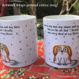 """My Sun, My Moon &  My Stars"" Mug - Red and Howling"