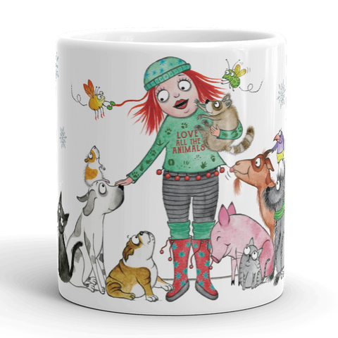 Love All The Animals Holiday Mug (2017 Special Edition) - Red and Howling