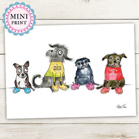 """Puppy At Heart"" Mini Art Print - Red and Howling"