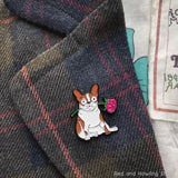 Rosie Enamel Pin - Red and Howling