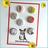 Mini Pins / Buttons - Red and Howling