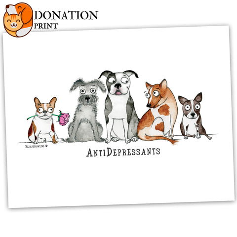 "DONATION Print: ""AntiDepressants"" (Archival Giclée) - Red and Howling"