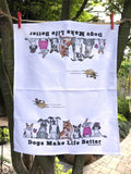 Dogs Make Life Better Kitchen Towel - Red and Howling