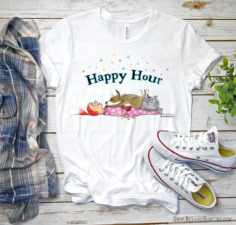 """Happy Hour"" T-Shirt - Red and Howling"