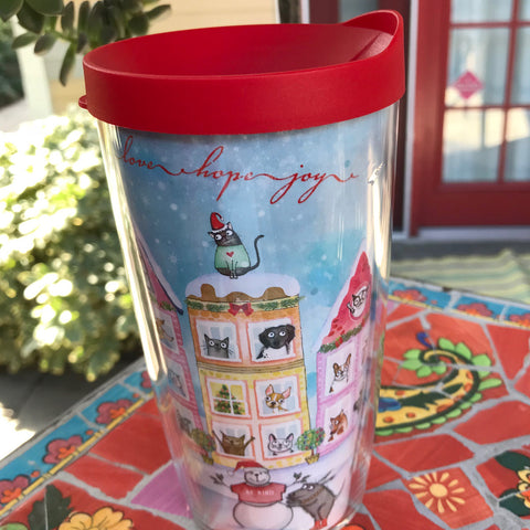 "Travel Mug -""The Best Neighborhood"" Limited Edition Holiday - Red and Howling"