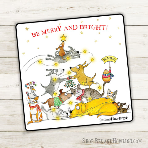 """Be Merry and Bright"" Special Holiday Sticker - Red and Howling"
