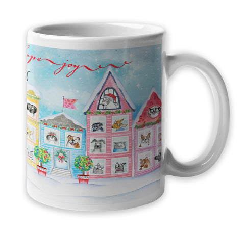 """The Best Neighborhood"" Holiday Mug - Red and Howling"