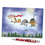 """Broom Ride With Friends"" Mini Art Print - Red and Howling"