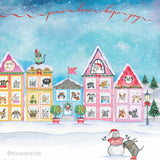 """The Best Neighborhood"" Holiday 4 Card Set - Red and Howling"
