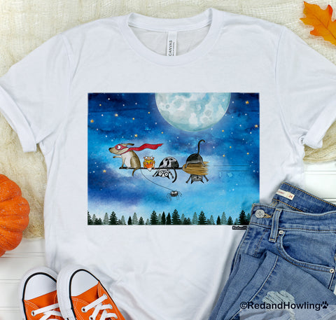 "SALE! ""Broom Ride with Friends"" T-Shirt - Red and Howling"