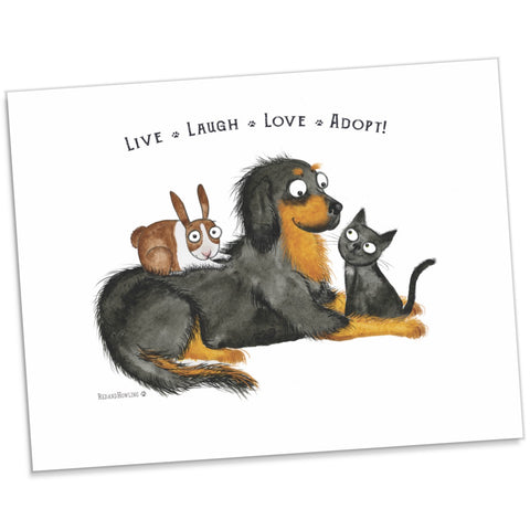 "DONATION Print: ""Live Laugh Love Adopt"" (Archival Giclée) TMS - Red and Howling"